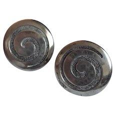 Sterling Silver Vintage Swirl Screw Back Earrings