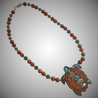 Vintage Lee Sands  Hono Sea Turtle Paua Shell Inlay Bayong Wood Necklace.