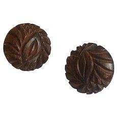 Carved Intricate Bakelite Dark Brown Button Earrings, 1930's-40's