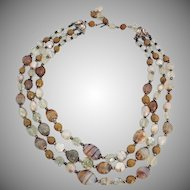 Vintage Triple Strand Crystal and Lampwork Glass Bead Necklace Adjustable clasp