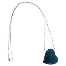 Sterling Silver and Hand Cut and Polished Malachite Heart Pendant