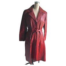 "Retro ""New"" 1970's Red Wine Leather Trench Coat ala 'Mod Squad!"""