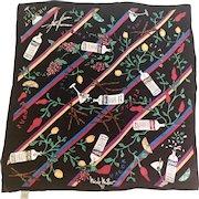 Vintage Absolute Vodka 100% Silk Pocket Square by Nicole Miller, 1991