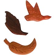 Set of 3 Intricately Carved Hand Crafted Folk Art Wood Pins,