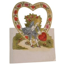 Vintage Valentine Die Cut Stand Up Pop Up  Cut Outs USA