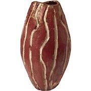 Mid Century Brutalist Pottery Vase  with Geometric hallmark