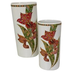 Kaiser Set of 2 Vases,  Rare Fantasia Pattern West Germany, signed