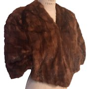 Natural Mink Vintage Cape in Sable with Satin Lining, 1940's