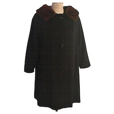 1950's Wool Cosmopolitan Black Wool Coat with Added Natural Mink Collar
