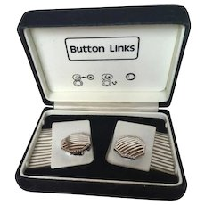 Vintage Men's Button Links in Original Box