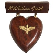 WWII McClellan Field Wood w/ Brass US Army Air Corps Prop Wings Symbol, 1940's