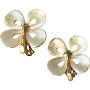 Vintage 2 Tone Primrose Earrings Satin Silver Tone Petals Gold Tone Stem and Back