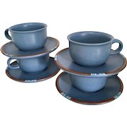 Dansk Mesa Sky-Blue Set of 4 Cups and Saucers, Japan