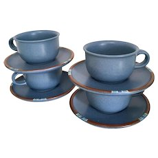Dansk Mesa Sky-Blue Set of 4 Cups and Saucers, Japan