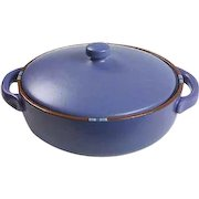 Dansk Mesa Sky-Blue Covered Casserole with Handles, 1990's, Portugal