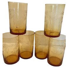 Set of 6 Depression Era Amber Glasses