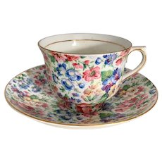 Colorful CloClough Vintage Bone China Chintz Teacup and Saucer Set