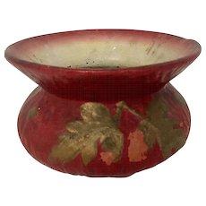 Vintage Yellowware Spittoon  in Reddish/Brown with Matte Glaze & Leaf Detail