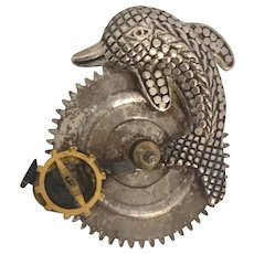 Upcycled Industrial Arts inspired Steel Cut Look and Salvaged Gears Brooch