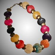 Carved Multi-Colored Summer Bright Dyed Wood and Metal Bead Necklace Heidelberg Project