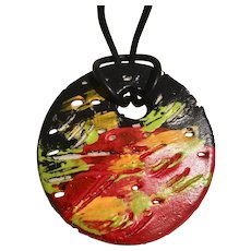 Heidelberg Project Hand Crafted Painted Pendant on black cord Signed, Detroit Michigan