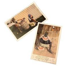 Black Americana Vintage Postcards (2) sent from Georgia, 1940's