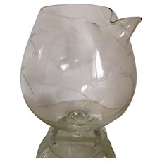 Mid Century Etched Glass Snifter with Pour Spout Pitcher Retro
