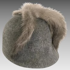 Glenover Henry Pollock  Grey Wool Equestrian Style Hat Russian Grey Mink Tails, 1950's
