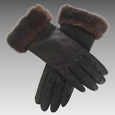 Vintage Black Leather Gloves with Natural Mink Cuffs