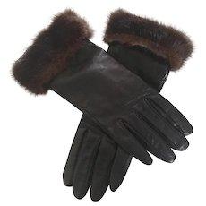 Vintage Black Leather Gloves with Natural Mink Cuffs