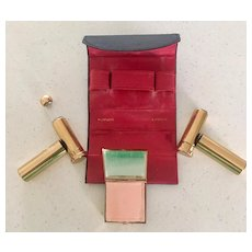 Ducette Compact Set in Case 1950's - Compact, Perfume Holder and Lipstick Holder