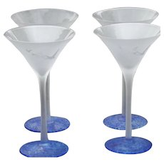 Vintage Grey Goose Frosted Martini Glass Set of 4 with Marbled Blue Base