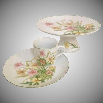 Shafford Jade Lily Pedestal Cake Plate and Set of 8 Dessert/Snack Sets