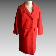 Clearance!  1960's Red Spring Car Coat in Fiery Red