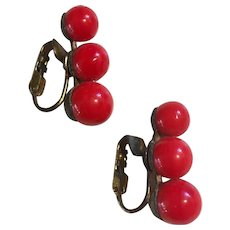 Vintage Cherry Red Glass Clip Earrings marked Japan