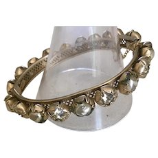 Vintage Sandor Reticulated Bracelet with Art Nouveau Bezel Set Large Crystal and Faux Freshwater Pearls