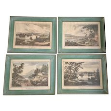 Hand Colored Chromolithograph Set of 4  Hudson River Views 1825 Victorian Era
