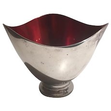 Danish Mid Century Modern Bowl  Carl Christiensen  Silverplate Red Enamel Hallmarked