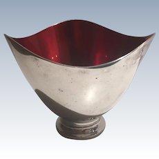 Danish Mid Century Modern Bowl  Carl Christiensen  Silverplate Red Enamel Hallmarked