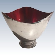 Danish Modern Silver Plate with Red Enamel Bowl Mid Century by Carl Christiensen 1943 - 1963