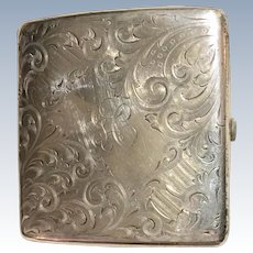 Art Nouveau Sterling Silver Chased Cigarette Case