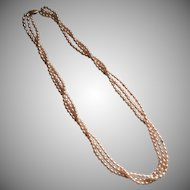 Vintage Pink Freshwater Rice Pearl Necklace