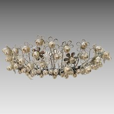 Hand Enameled Floral Tiara with Pearls, Dainty June Paris by Debra Moreland signed