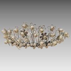 Paris by Debra Moreland Hand Enameled Dainty Flower Tiara Pearls, Signed
