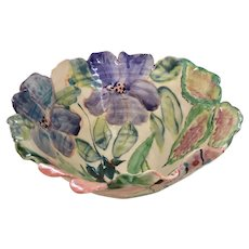 Colorful Hand Painted Pottery Bowl by Susan Collins, UK Ceramic Artist