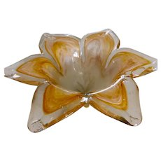 Murano Glass Flower Tidbit Bowl in Amber White and Clear Vintage Italian