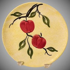 "Blue Ridge Pottery  ""Apple Jack "" Yellow Sponged Plate with Apples"