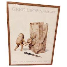"Vintage ""Escape""  Greg Brown  Whitney Hopter Graphics Print  Framed under glass"