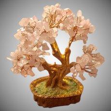 Twisted Copper & Rose Quartz Tree of Life  Mid-Century