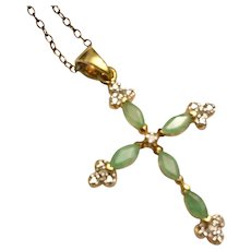 Vintage Delicate Jade Cross with Diamond Center in Gold Vermeil  on Fine Chain
